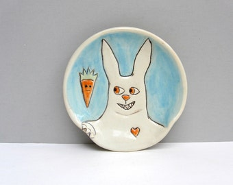 Ceramic Spoon Rest with Rabbit and Orange Carrot, Blue and White Bunny Spoon Rest For The Kitchen, Animal Pottery