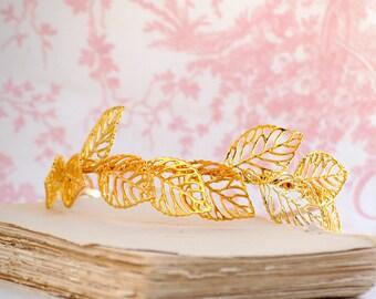 Gold Leaf Headband,Bridal Headband,Gold Leaf,Woodland Wedding,Gold Tiara,Romantic Bridal Woodland,GardenWedding,Grecian,Forest Fairy