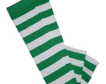 Green and White Striped St. Patrick's Day Big Kid Leg Warmers