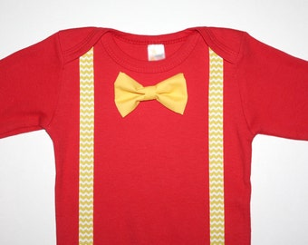 Red and Yellow Chevron Baby Boy bow Tie Onesie Free Shipping