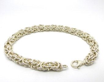 Silver Chainmaille Bracelet // Sterling Byzantine Link Chain Bracelet