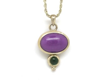 Purple and Green Stone Pendant with Sterling Silver OOAK