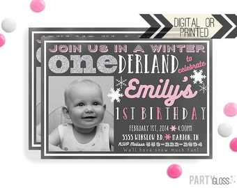 Pink and Silver Chalkboard Onederland Invitation | Digital or Printed | Silver Sparkle Invitation | Onederland Invite | Pink and Silver