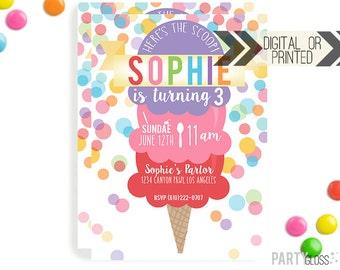 Ice Cream Invitation   Digital or Printed   Ice cream Cone Invitation   Ice Cream Invitation    Ice Cream Invite   Ice Cream Party   Sundae