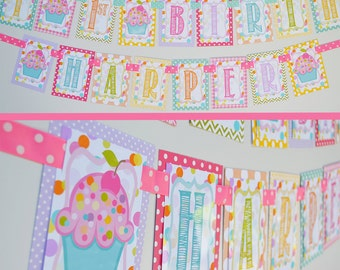 Sprinkle Cupcake Birthday Party Banner Fully Assembled Decorations | Rainbow Pastel Birthday | Sweets and Treats | Rainbow Cupcake |