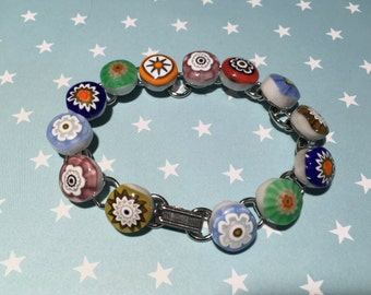 "Millefiore Bracelet, Fused Italian Glass Flowers, Handmade 8"" Long, Silver Finish"