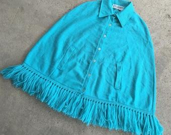 1970s Poncho with Fringe - Turquoise Poncho - Aqua Blue Poncho - Hippie Boho Bohemian - Kitschy Shawl Wrap Cape - One Size Fits Many