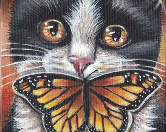 Black & White Tuxedo Cat Kitten Portrait Monarch Butterfly Summer Original 4x4 Acrylic Painting