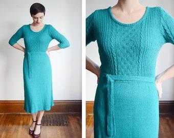 1970s Turquoise Sweater Dress - M