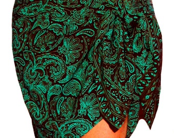 Paisley Beach Sarong Women's Clothing Short Beach Sarong Wrap Skirt - Dark Chocolate Brown & Aqua Green Batik Pareo -  Bikini CoverUp - Gift