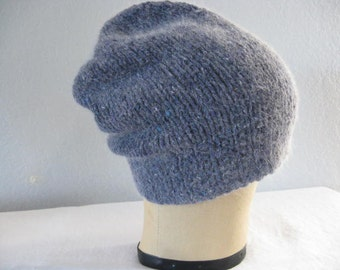 Blue Slouchy. Hand Knit Tweed Beanie/Watch Cap. Merino Wool and Angora. With or Without Pom. Winter Accessories.