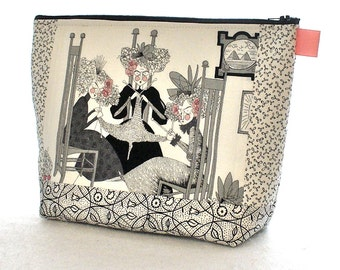 X Large Knitting Project Bag Ghastlie Fabric Cosmetic Bag Zipper Pouch Makeup Bag Zip Pouch Ghastlies White Black Knitters Trio MTO GNW