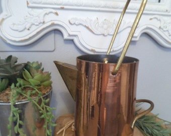 Vintage Copper and Brass Pot Kettle Pitcher with Handle ~ Chocolate pot ~ Pitcher ~ Vase ~ French Country