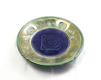 RAKU POTTERY BOWL Celtic Cross Bowl Ceramic Turquoise