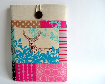 Kindle Sleeve, iPad Mini Cover, Samsung Galaxy Tab A, S2, or Tab 4 Case, Kindle Paperwhite Cover Padded with Pocket  - Deer