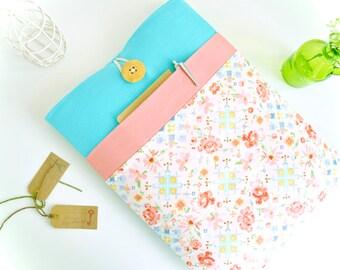 "iPad Case fit any iPad Pro, iPad Air, iPad Mini, 7.9"", 9.7"", 12.9"", Handmade Floral Aqua and Peach Tablet Case with Pocket"