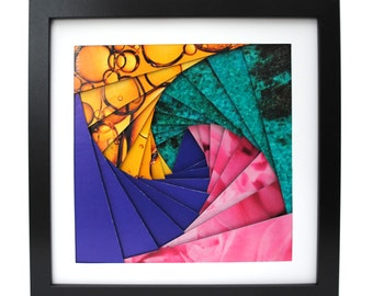 jewel colored pinwheel shadowbox- made from recycled magazines, purple, teal, pink, spiral, modern, colorful, handmade, interior design