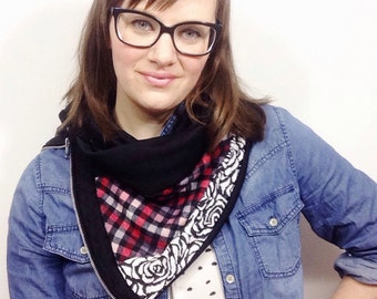 Plaid Scarf, Floral Scarf, Unique Handmade Scarves, Zipper Scarf, Zipper Cowl, Scarf with Zipper, Fashion Scarves, Knit Scarves, Neck Warmer