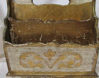 Hollywood Regency Italian Florentine Gold Gilt Toleware Desk Letter Holder