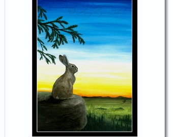 Wildlife Wonders - Horizon Sunset Cottontail Rabbit - Art Prints by Bihrle wd98