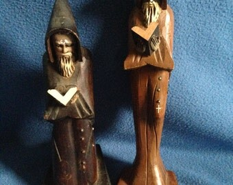 Vintage, Preying Clergymen Wooden Statues, Catholic.