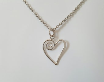 Heart necklace, love, forever, marriage, daughter, mother, best friend, girlfriend gift for her sterling silver jewelry
