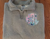 Monogrammed Lilly applique 1/4 zip sweatshirt, Monogrammed Pullover, Lilly Pullover