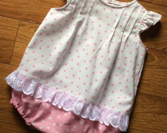 Toddler, little girl's angel sleeve bubble suit - size 6m