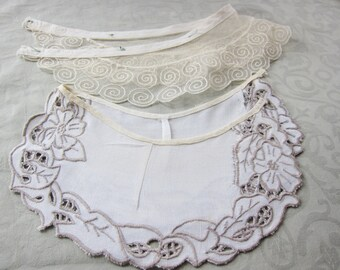 Vintage collar, lot collar, antique collars, cut work, vintage dressmaking, lace collar, 2 collars