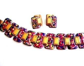 Matisse Set, Matisse Bracelet Earrings Set, Vintage MATISSE Copper Confetti Enamel Wide Link Bracelet Clip Earrings Set