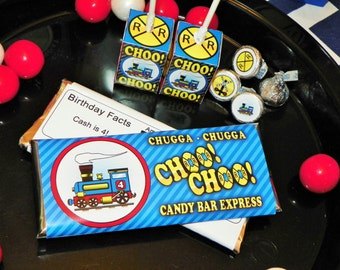 Ten Train Party Candy Bar Labels. Candy Bar Train Theme Wrappers. Choo Choo Birthday Candy Bar Sleeves. Train Party Favors. Candy Bar Favors