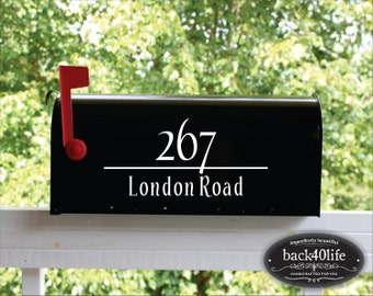SALE!!! Classic Mailbox Street Address Numbers Vinyl Decal (E-004c)