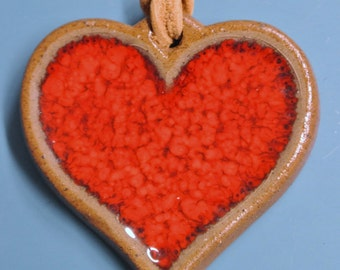 Retro vintage 1970s swedish handmade red ceramic heart pendant necklace with adjustable leather cord band