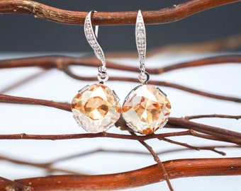 Bridesmaid Earrings Crystal Golden Shadow Champagne Bridal Earrings in Silver