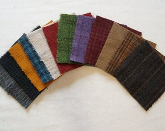"Assorted Color Wool and Black, Cream, Red, Green, Brown, Orange, and Teal 5"" x 5"" Wool Charm Pack of 12"