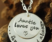 ON SALE Hand Stamped Necklace, Aunt Necklace, I love you, Personalized Jewelry, Heart Necklace, Love Necklace