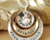 ON SALE Mommy Necklace, Personalized Jewelry, Hand Stamped  Necklace, Keepsake, 14kt gold filled, sterling silver