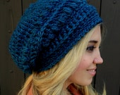 Slouchy Hat Winter Beanie Womens Hat Gifts for Her Alpaca Wool Bobble Beanie Super Soft Handmade Midnight Indigo Blue or CHOOSE color