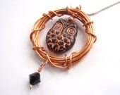 Owl Gifts, Black and Copper Owl Bird Pendant with a Black Swarovski Crystal