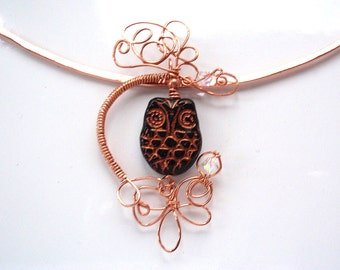 Black and Copper Owl Necklace with Swarovski Crystals, This Bird is Wire Wrapped