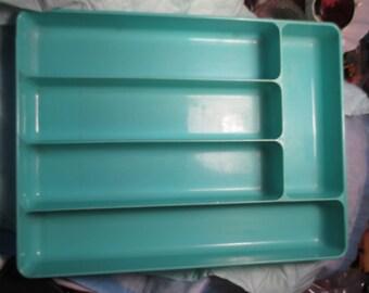 Vintage Retro Mid Century Turquoise Plastic Utensil Drawer Tray Organizer kitchen design decor cottage chic diner