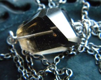 Smoky quartz crystal gemstone nugget necklace - wire wrapped sterling silver handmade jewelry