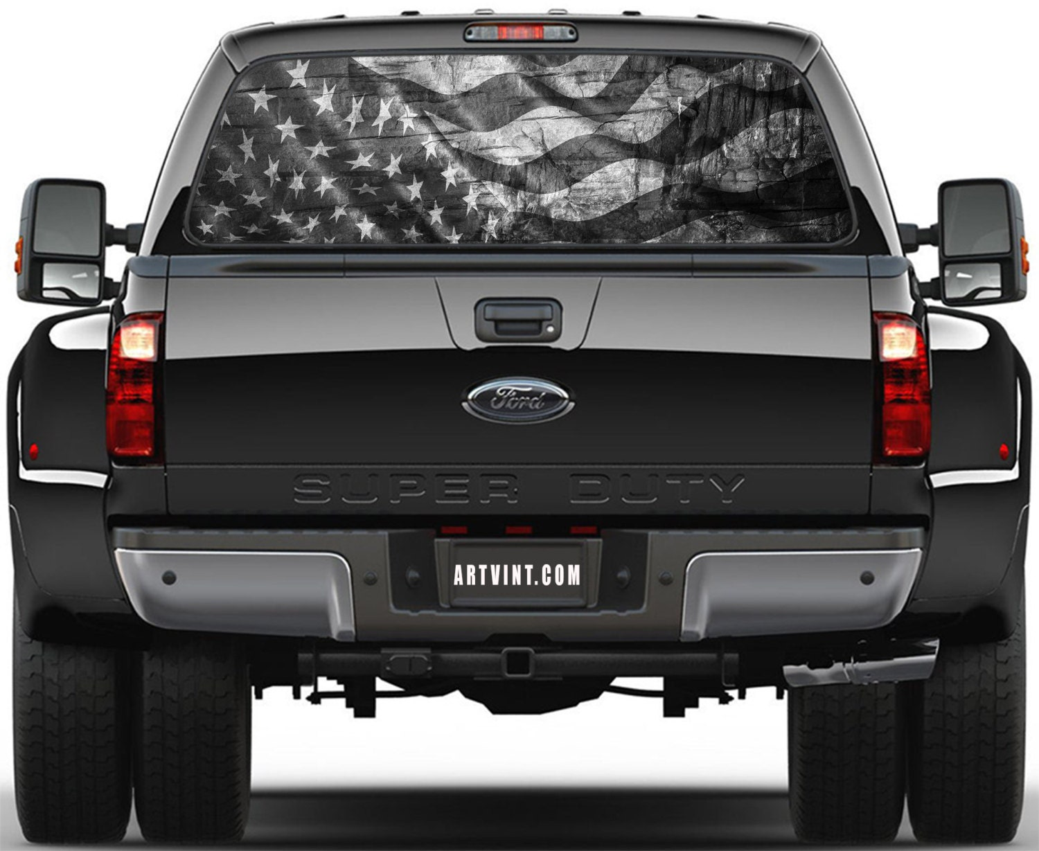 American Flag Prairie Gold Stone Black And White Rear Window - Chevy window decals for trucks