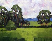 Impressionist Painting CALIFORNIA  Eucalyptus Meadow Plein Air Landscape Lynne French 12x16