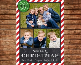 Photo Picture Christmas Holiday Card Chalkboard Chalk Red Stripe Monogram - Digital File