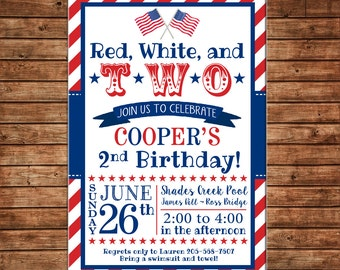 Boy Girl Red White Blue Two Patriotic American Flag July 4th Party Birthday Invitation - DIGITAL FILE