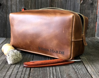 Personalized Dopp Kit - Mens Toiletry Bag - Leather Toiletry Bag - Groomsman Gift - Pull-up Saddle Tan