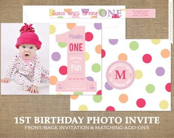First Birthday Photo Invitation, Polka Dot 1st Birthday Invitation, 1, Picture, Girl, Pink, Purple or Any Color, Prints or DIY Printable