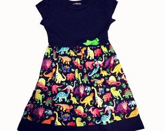 Dinosaur Baby Girls Dress, Baby Gift, Alternative, Baby Shower