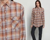 Plaid Shirt Flannel Shirt Grunge Button Up Retro 80s DISTRESSED Vintage Oversize Long Sleeve Brown 1980s High Collar White Medium